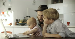 Father with children Stock Footage