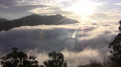 Thick clouds cover the ground in the Himalayas. Nepal. Time lapse. Stock Footage