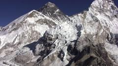 Panorama of Everest, Lhotse wall and Nuptse Peak. Nepal. Stock Footage