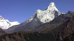 Tengboche monastery on the Ama Dablam and Lhotse wall background. Stock Footage