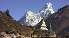 Stupa (buddhism) on the Ama dablam background. Himalayas. Nepal. Stock Footage