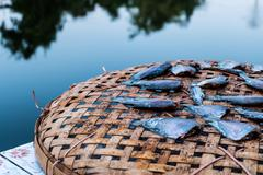 Dried fish on bamboo basket and the background of the river. Stock Photos