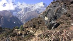 View of the Himalayas at the point above Namche Bazaar Stock Footage