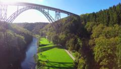 Huge high bridge in Germany Mungsten Bridge, Mungstener Brucke Stock Footage