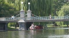 4K Boston Public Gardens Swan Boat Stock Footage