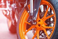 wheel of sport bike - stock photo