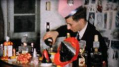 Christmas Bartender Making Drinks-1958 Vintage 8mm film Stock Footage