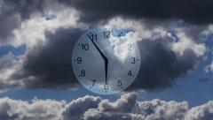 Composition Clocks and Clouds. Time-lapse Stock Footage