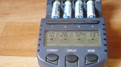 Stock Video Footage of Close-up of batteries are charged in a special device. Time lapse