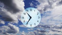 Composition Clocks and Clouds. Time-lapse - stock footage