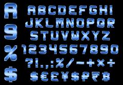 Alphabet, numbers, currency and symbols pack, rectangular beveled blue metal  Stock Illustration