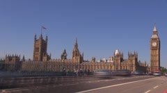 Stock Video Footage of Timelapse Traffic car red bus Westminster Bridge sunny day London city Big Ben