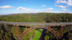 Mungstener Brucke old bridge construction, river Wupper aerial Stock Footage