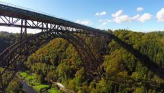 Amazing bridge aerial, huge railroad Mungstener Brucke, old high Stock Footage