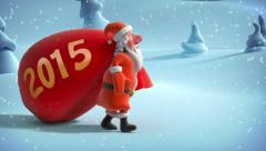 Santa Claus with big bag in Christmas forest. Year 2015 Stock Footage