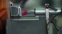 Machine holding the metal piece in place Stock Footage