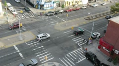 Top view of a crossroads in Brooklyn at day. Time lapse. Stock Footage