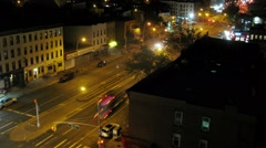 Top view of street in Brooklyn at night. Time lapse. Stock Footage