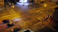 Top view of a crossroads in Brooklyn at night. Time lapse. Stock Footage