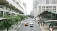 Road with traffic near Lincoln Center. Time lapse. Stock Footage