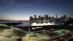 Sports in hangars near the river in the night Manhattan. Stock Footage