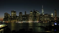 Manhattan Skyline At Night, New York City. Time lapse. Stock Footage