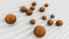 Orange spheres get down on stairs Stock Illustration