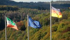 Flag of Germany, European Union, North Rhine-Westphalia waving Stock Footage
