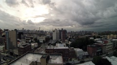 Cityscape and Queensboro Bridge the distance at day. Time lapse. Stock Footage