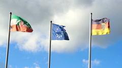 Waving flags of Germany, European Union, North Rhine-Westphalia - stock footage