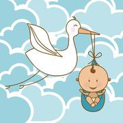 baby arrival design over clouds background vector illustration - stock illustration