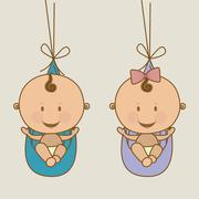 Baby arrival design over beige background vector illustration Stock Illustration