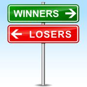 winners and losers directional sign - stock illustration