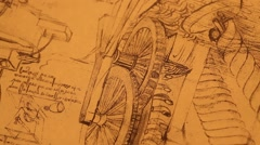 Leonardo Da Vinci's Engineering drawings - stock footage
