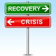 Recovery and crisis directional sign Stock Illustration