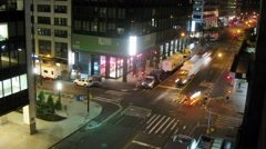Wall street at night, morning comes gradually. Time lapse. Arkistovideo