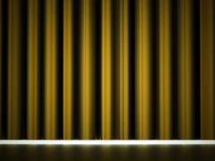 Yellow curtain drapes rendered Stock Illustration