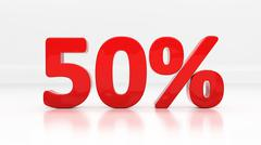 3d fifty percent Stock Illustration