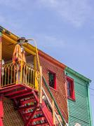 Colorful houses in caminito street of la boca in buenos aires Stock Photos