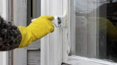 Home renovation old window repairing, painting Stock Footage