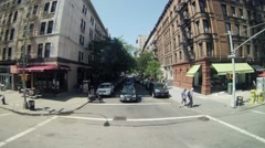 A trip on a city street in the bus at sunny day. Time lapse. Stock Footage