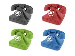 Colored old telephones isolated rendered Stock Illustration