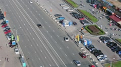 Cars ride by New Arbat street at spring sunny day. Stock Footage