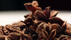 Rotating star anise fruits Stock Footage