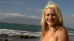 Maui bikini model on the beach Stock Footage