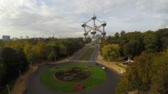 Brussels Atomium aerial, city symbol of Belguim capital above Stock Footage