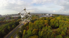 Atomium aerial shot in Brussels Belguim, autumn fall fly above Stock Footage