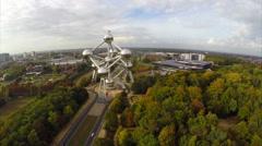 Fly above Atomium huge complex in Brussels Belguim aerial Stock Footage