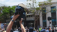The media at G20 Brisbane demonstration 4K Stock Footage