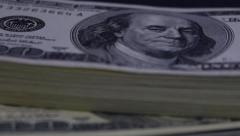 Stack of Paper Money, Bank Notes, American Dollars Stock Footage